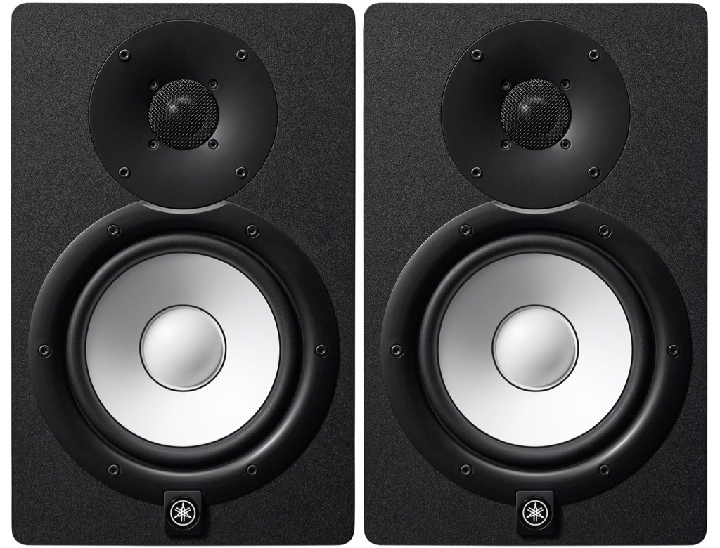 Yamaha HS7 active studio monitor pair (like new with boxes), speaker stands incl.