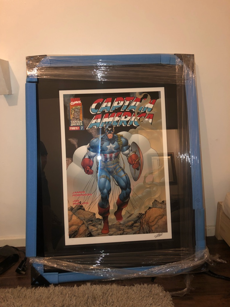 Captain Marvel Framed Signed by Stan Lee Comic Artwork