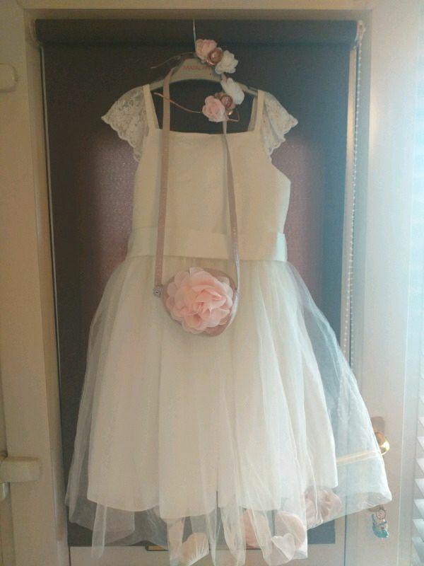 Bridesmaid/flower girl dress,bag and hairband matching set.