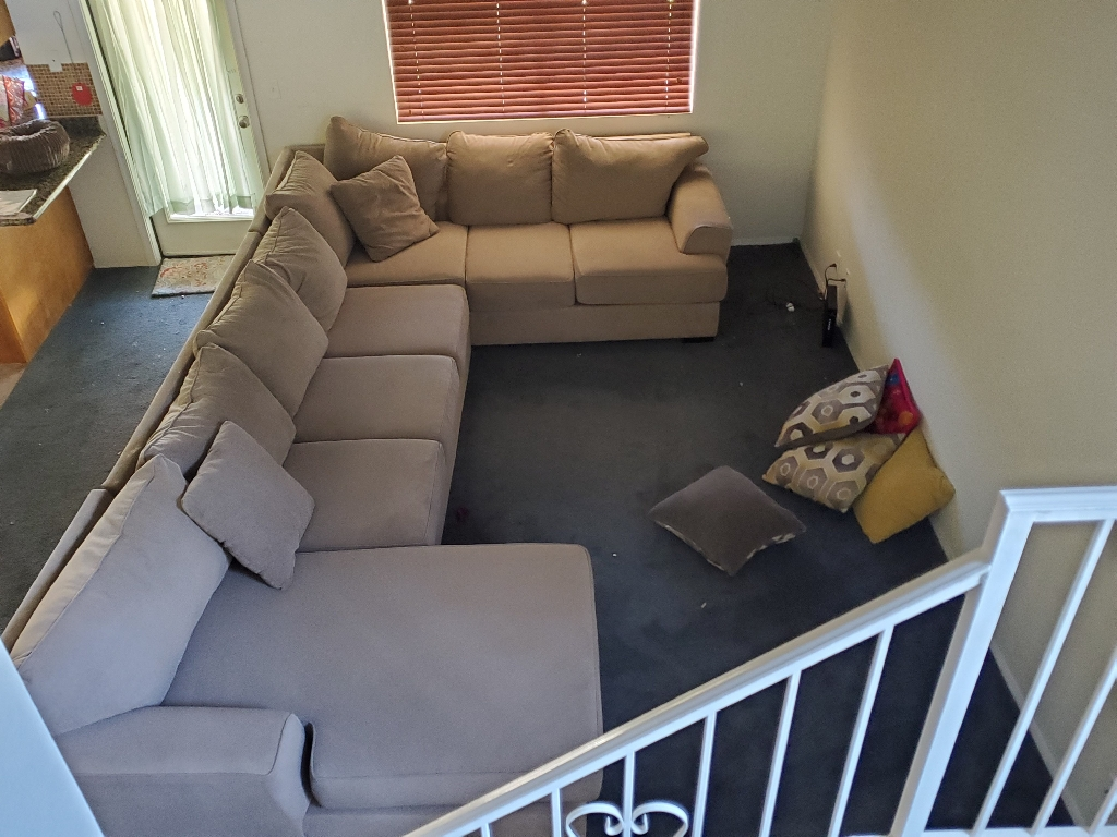 Extra large tan suede sectional sofa