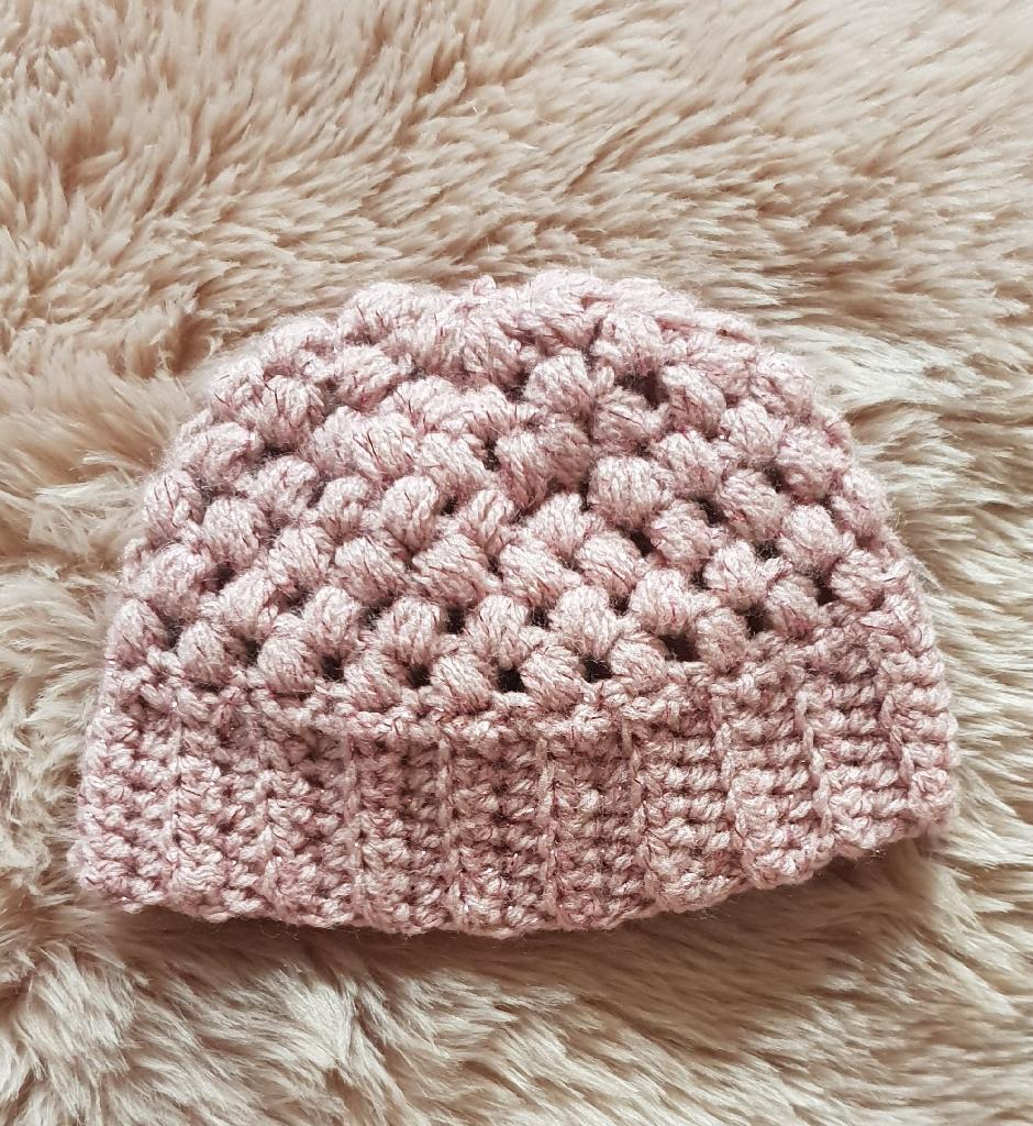 Handmade crochet puff stitch hat