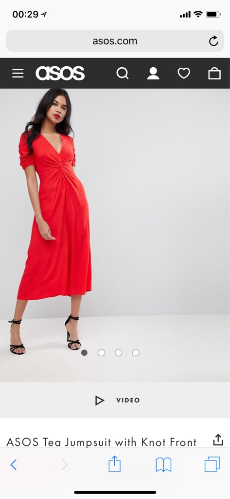 New ASOS Tea Jumpsuit with Knot Front