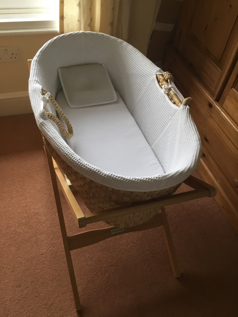 John Lewis Moses basket with mamas and papas stand and a theraline pillow