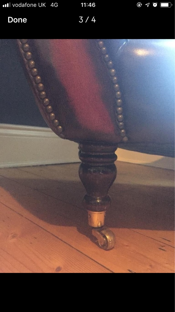Chaise Longue Red Leather Vintage Sofa