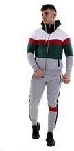 Men's tracksuit set stylish contrast zipper hoodie top & bottoms