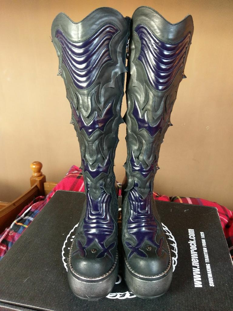 Ladies Black/indigo wedge/platform knee-high New Rock boots Size 3.5 EU 36