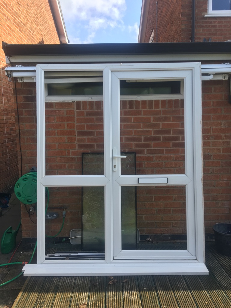 White UPVC Door Frame with Door, Glass and Fittings