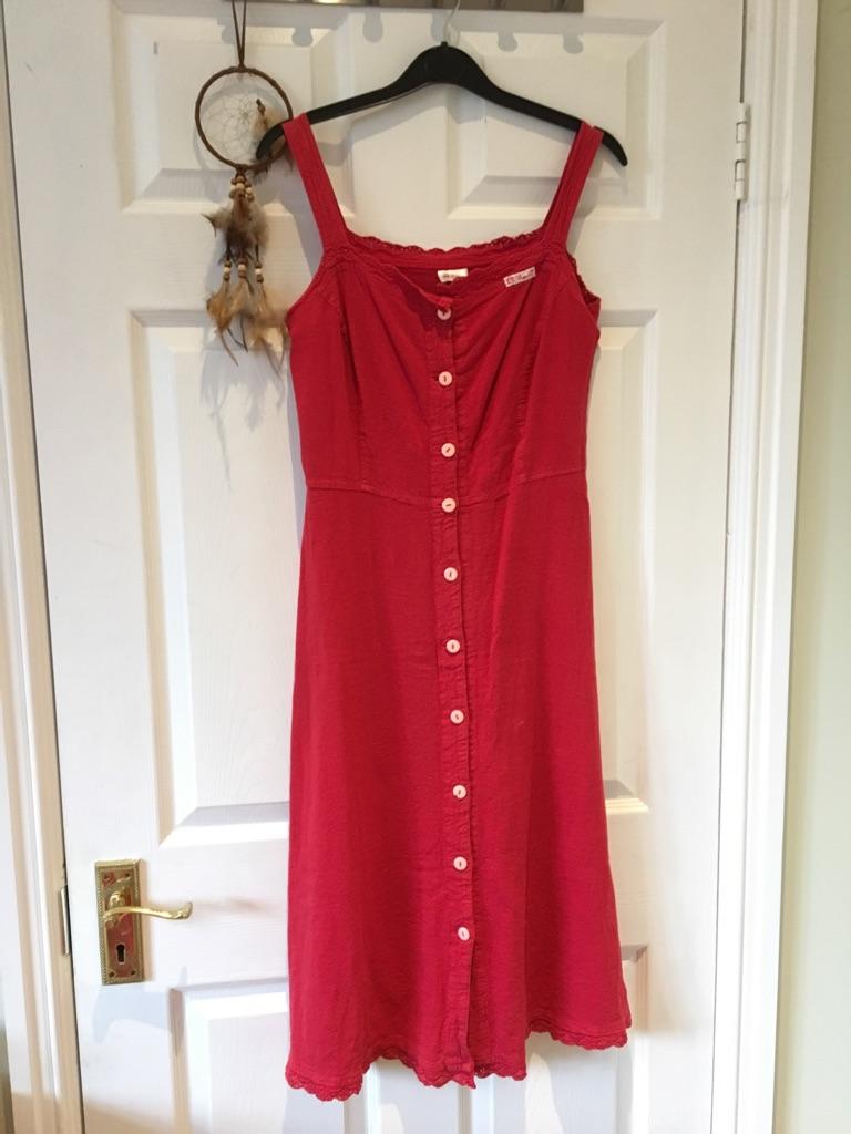 Red midi button dress