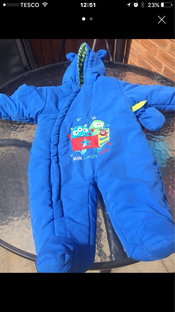 Baby boys snow suit 6/12 months