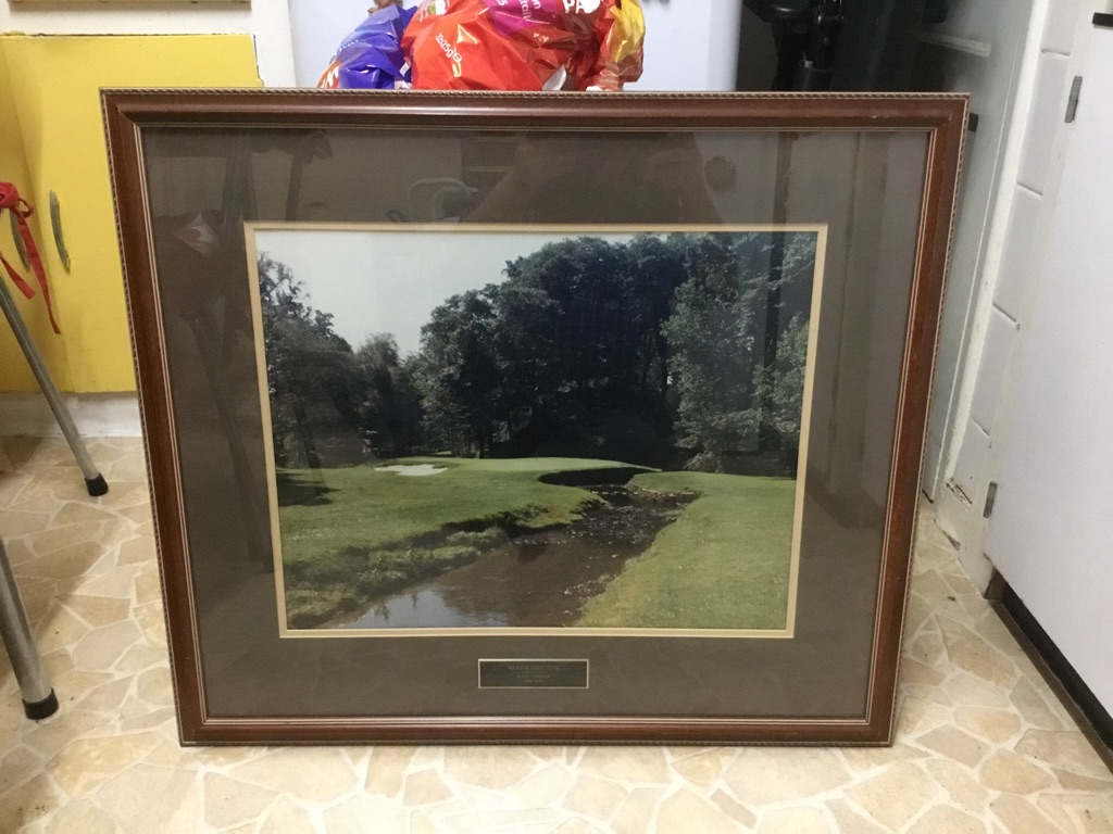 Large Merion golf club east course 11th hole print in mount in frame glazed 25in 29in