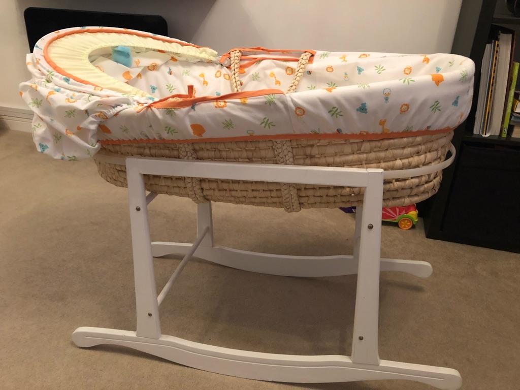 Moses basket, mattress & rocking stand