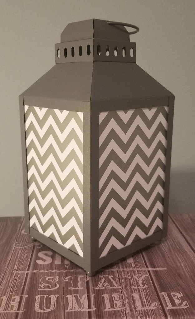 Gray Chevron Lantern