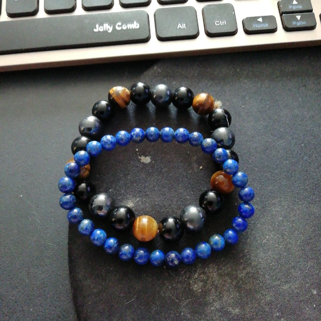 Tiger eyes, Hematite, Obsidian  bracelet and lapis Lazuli bracelet