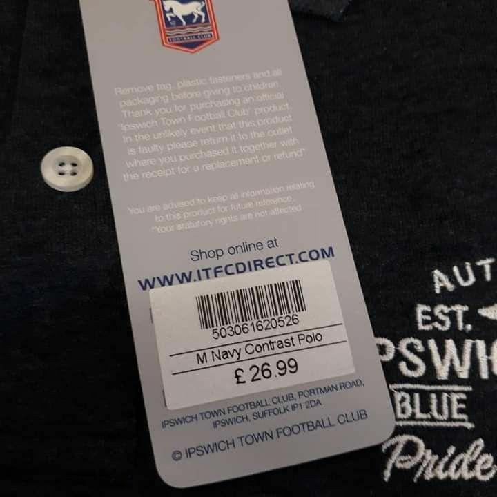 Men's Ipswich Polo Navy Contrast Kit Team RRP£26.99