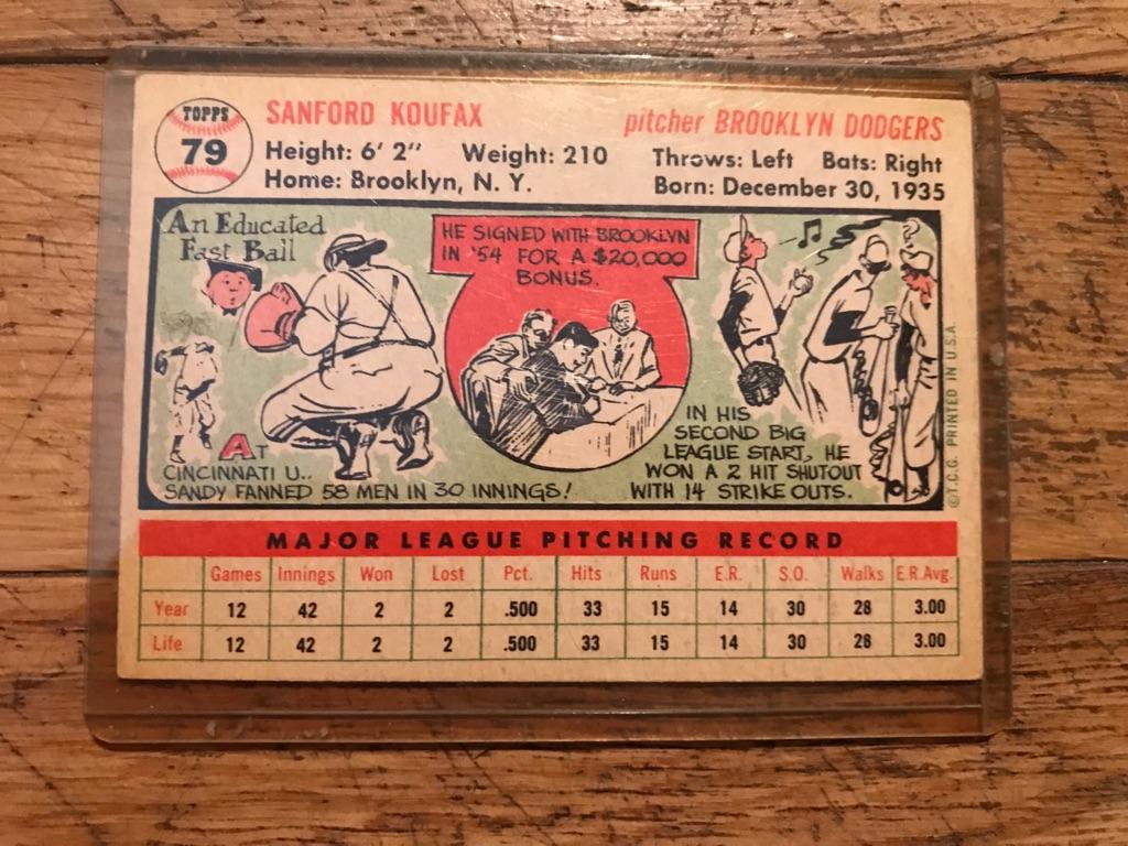 Sandy Koufax 1956 Topps Baseball Card