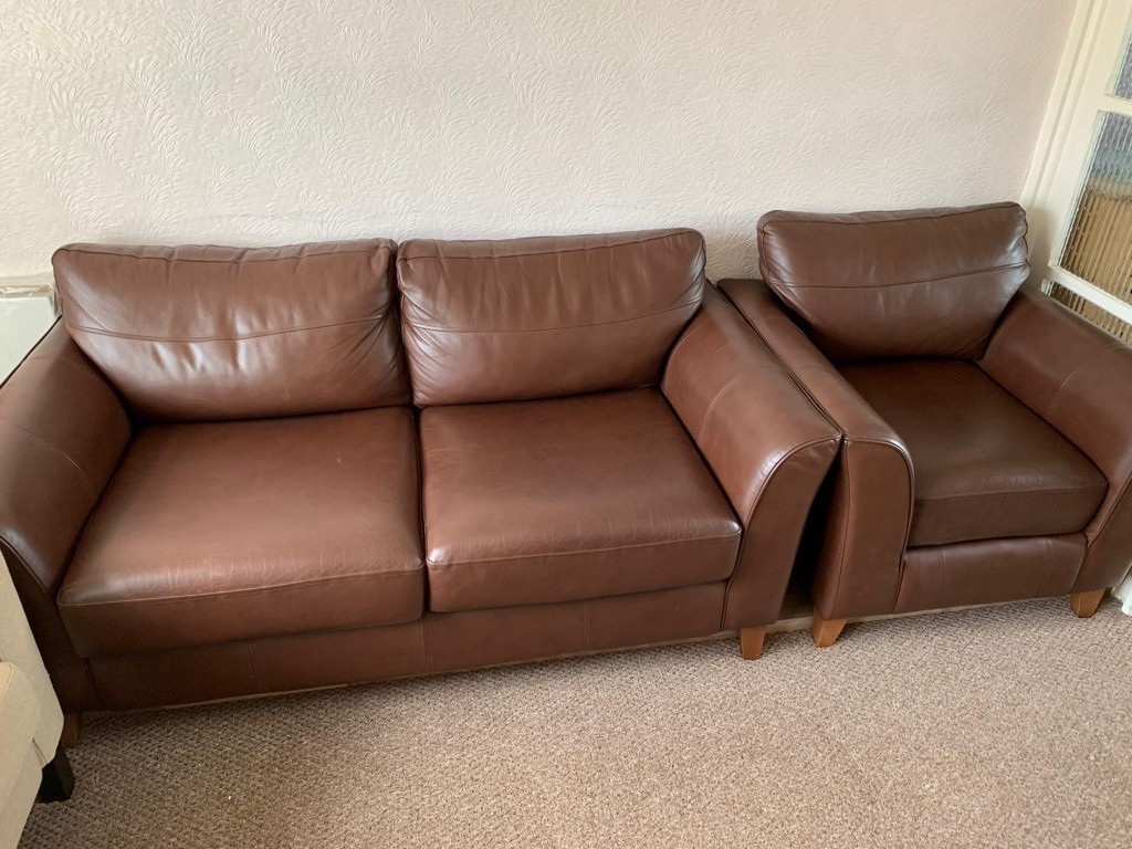 Real leather sofa and chair