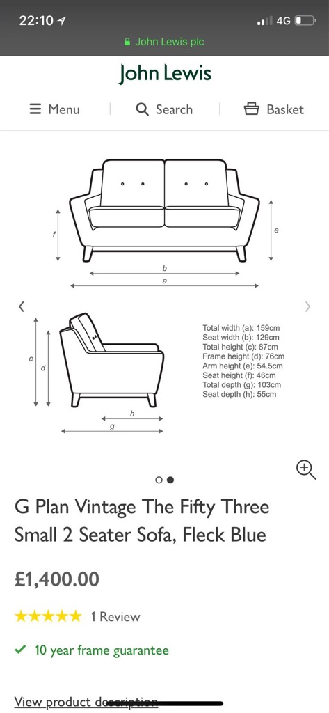 G Plan Vintage The Fifty Three Small 2 Seater Sofa W Tags - Green Fleck Colour