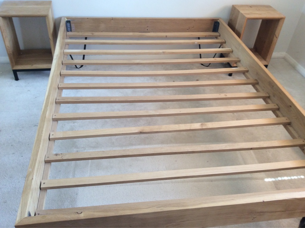 Custom handmade solid oak bed frame and side tables