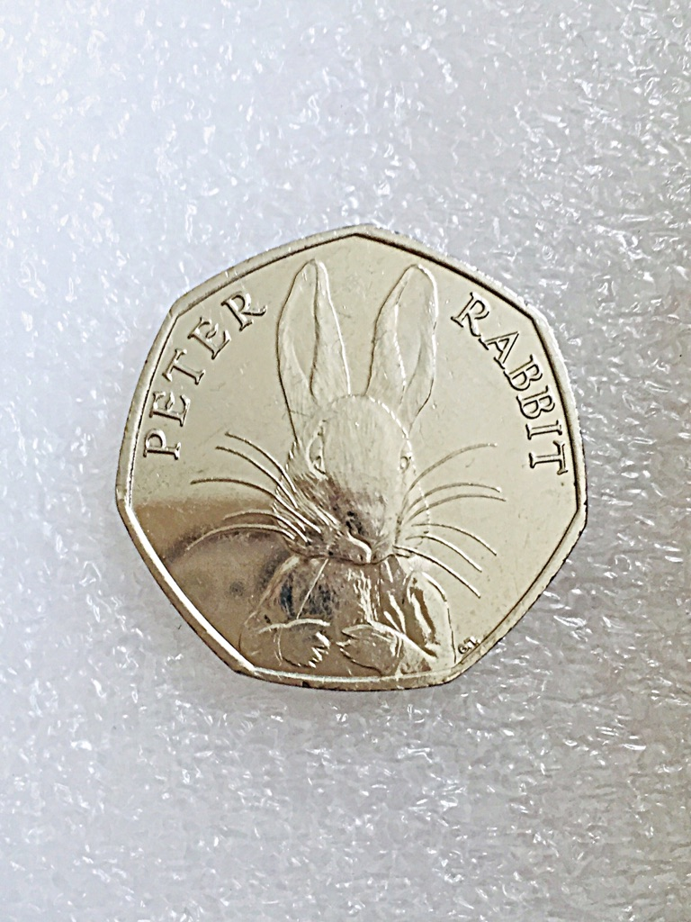 50p coin Peter rabbit 2016.