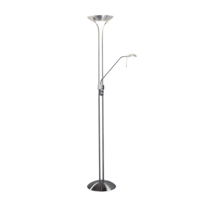 Modern Silver Brushed Chrome 2 Way Integrated LED Mother/Father Parent & Child Adjustable Uplighter and Spotlight Design Reading Floor Lamp