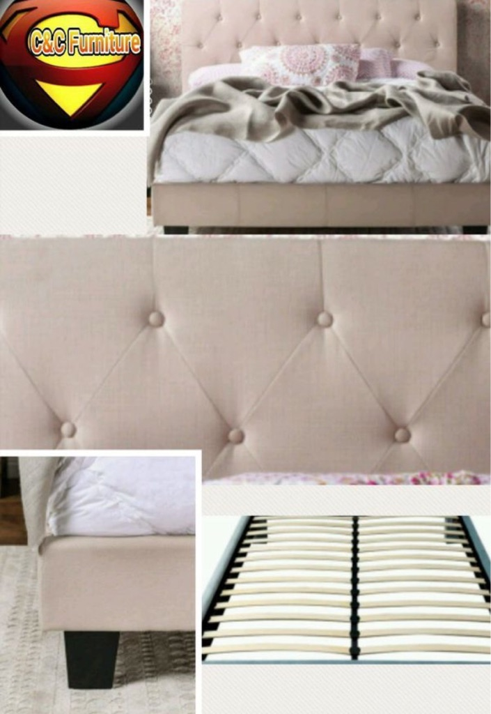Ivory Upholstered Platform bed with Button Tufted headboard