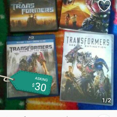 Set of four Transformer movies DVD