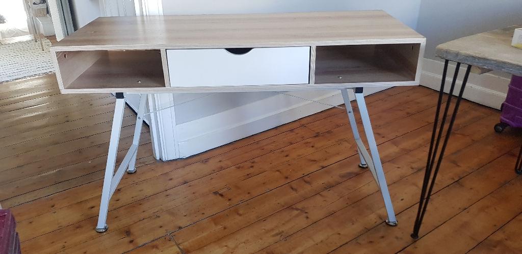 Scandi white and oak modern desk table