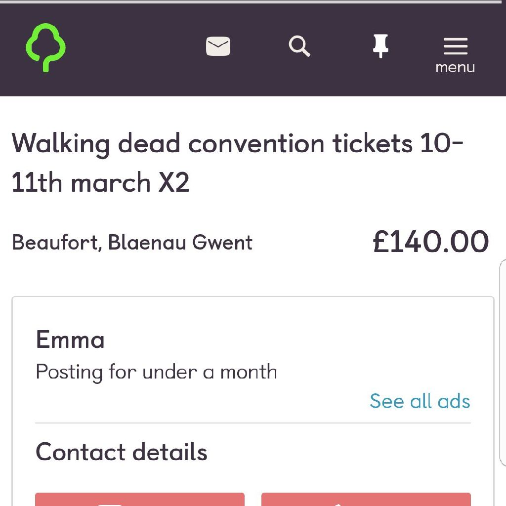 2 day Walking dead convention tickets x2 london
