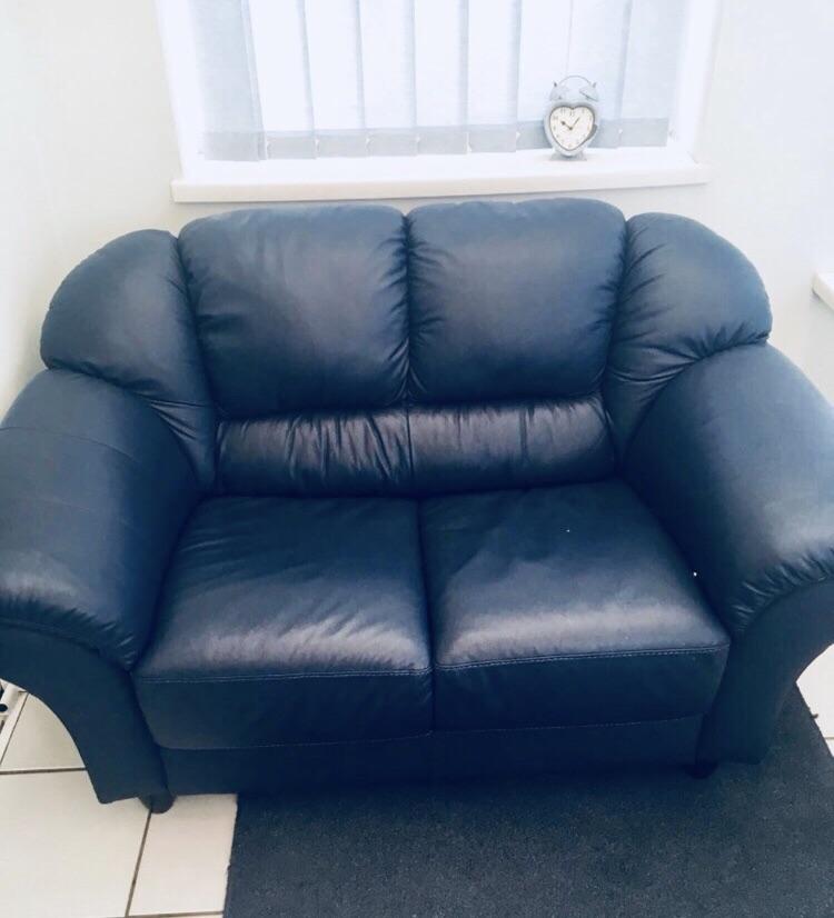 Blue Leather sofa's