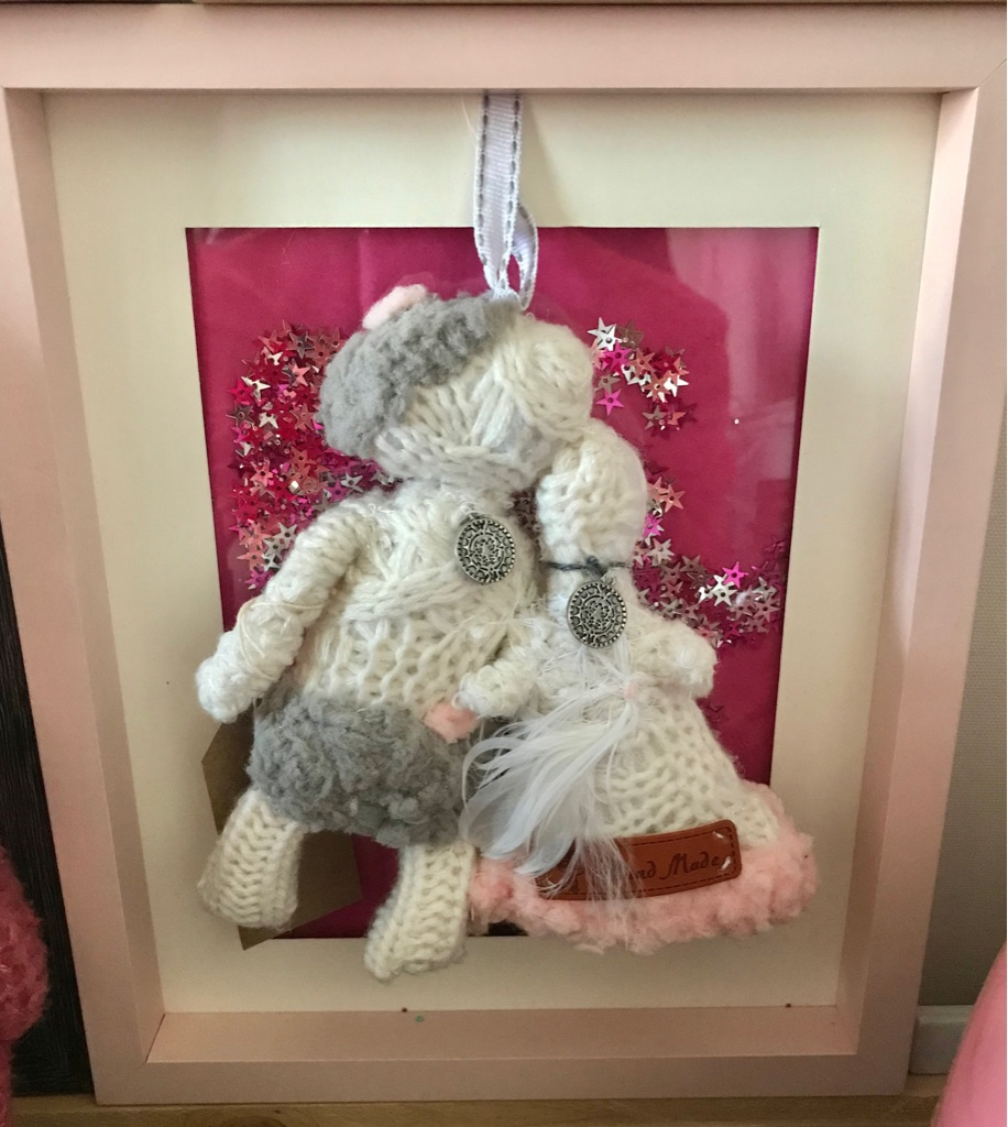 Box frame pictures with handing teddy