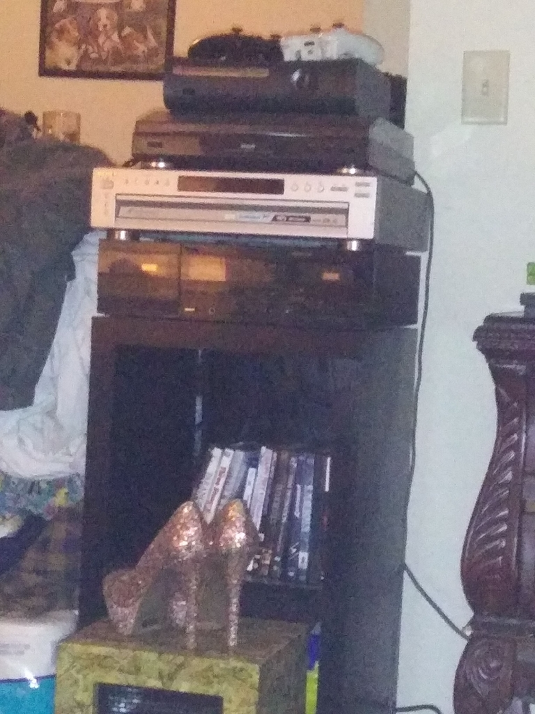Old school stereo system,Xbox 360 with 2 wireless controllers and an original porcelain doll