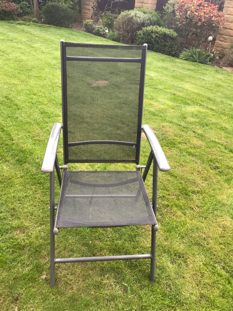 Grey Glass Patio Table with 6 Multi-Position Chairs & Unused Patio Umbrella