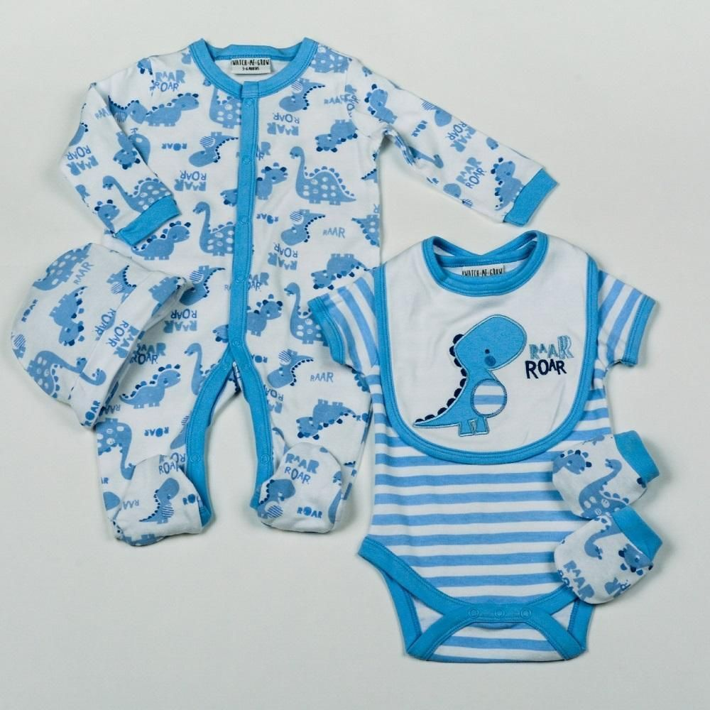 Baby Boys Dinosaur 5 Piece Net Bag Gift Set