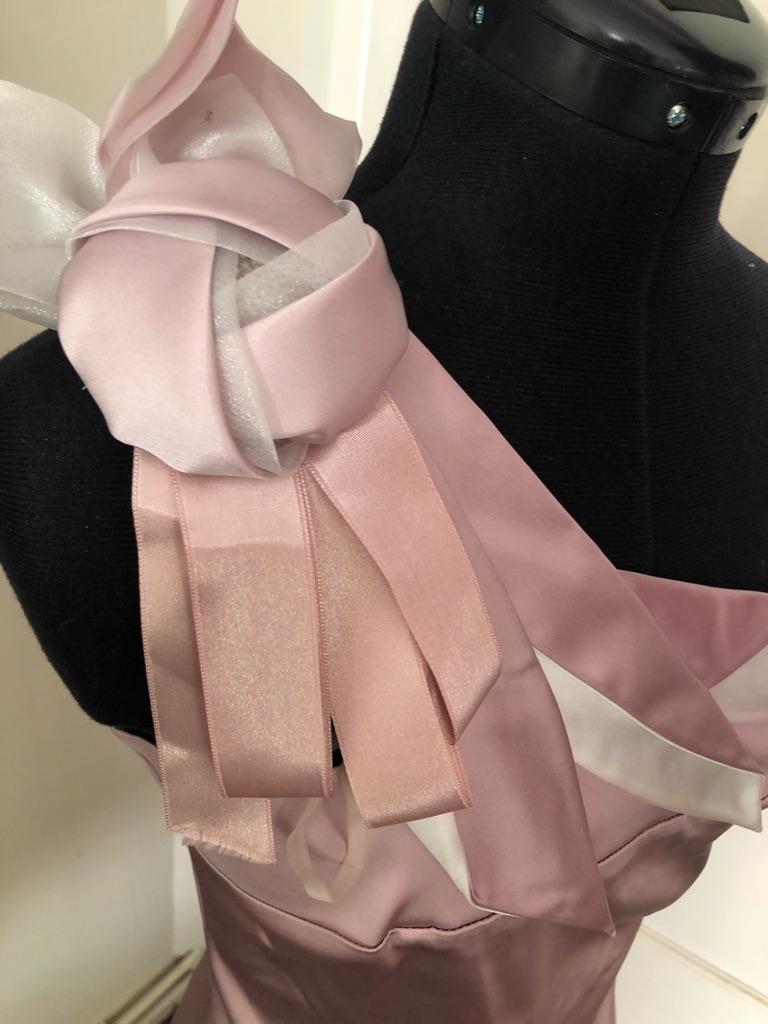 Woman's Pink Luxurious Satin Bodycon Dress Size 8