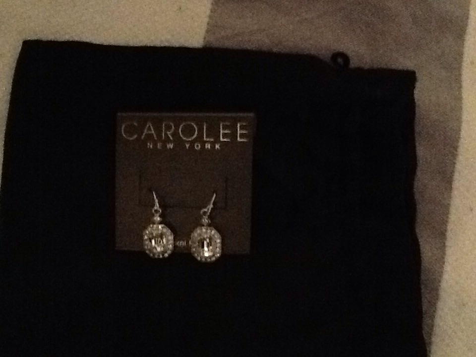 Carolee silver and diamanté drop earrings (never worn)