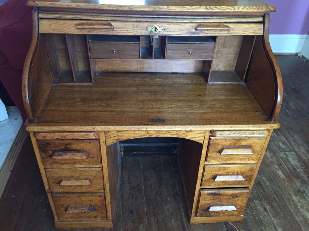 Antique solid oak roll top desk 1930s