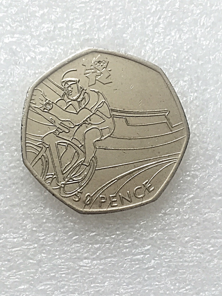 50p coin cycling London Olympic Games 2011.