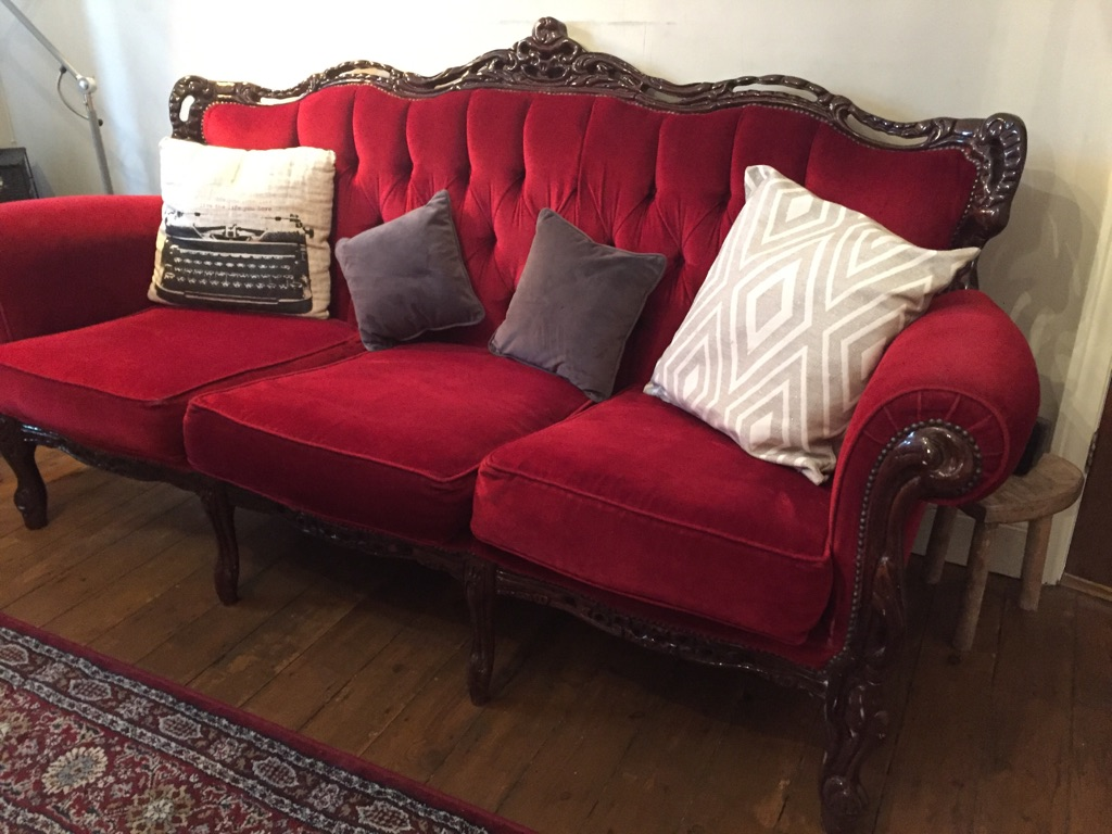 Vintage 3 Seater Sofa French Louis Style Fabric Chesterfield Settee/Couch/Furniture