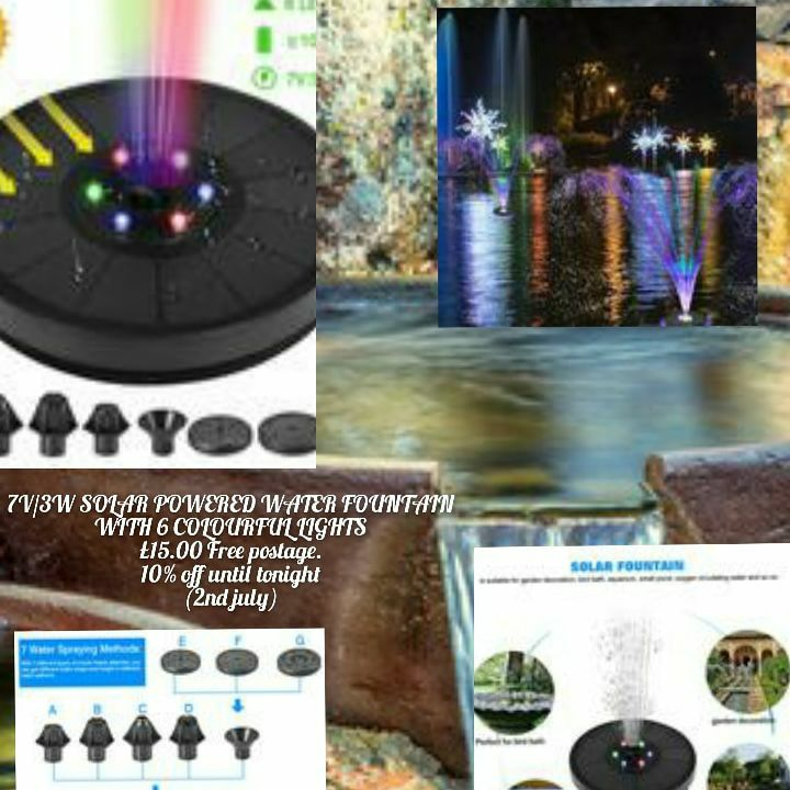 7V/3W SOLAR POWERED WATER FOUNTAIN WITH 6 COLOURFUL LIGHTS ⛲