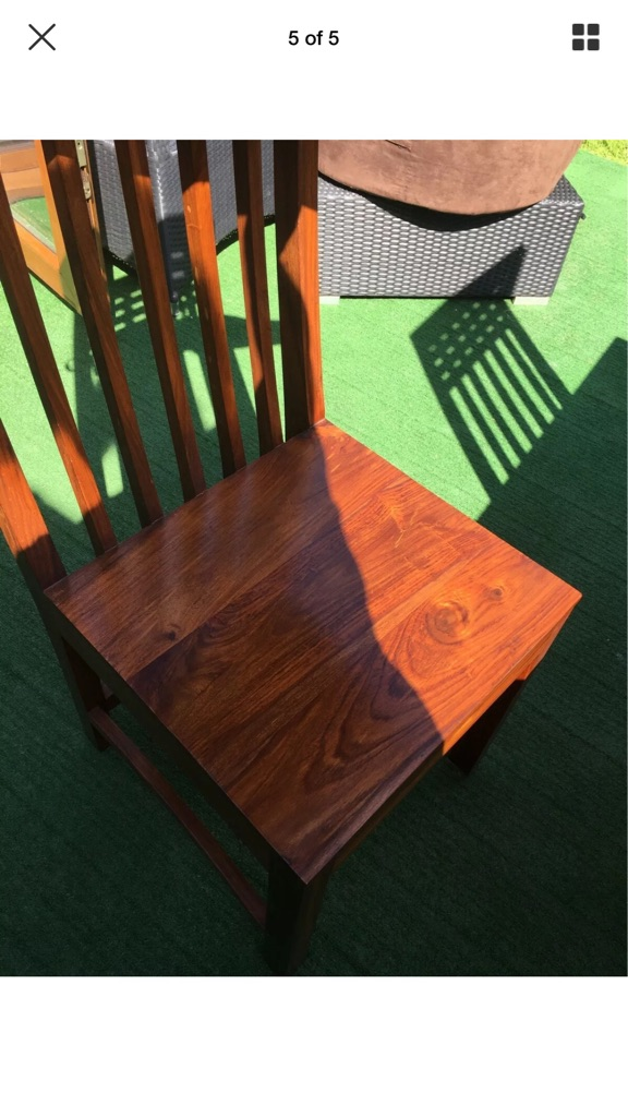 Sheesham wood dining table and four chairs