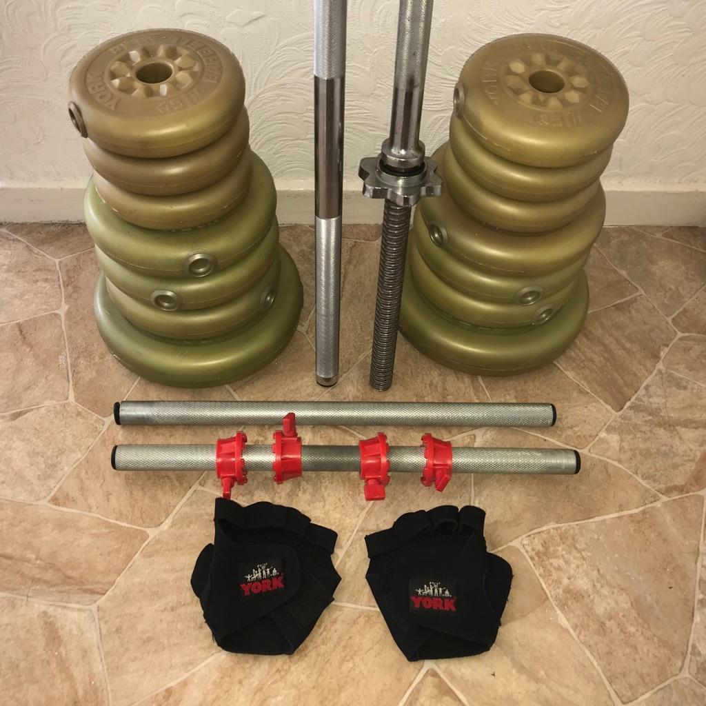York weightlifting set  +  gloves
