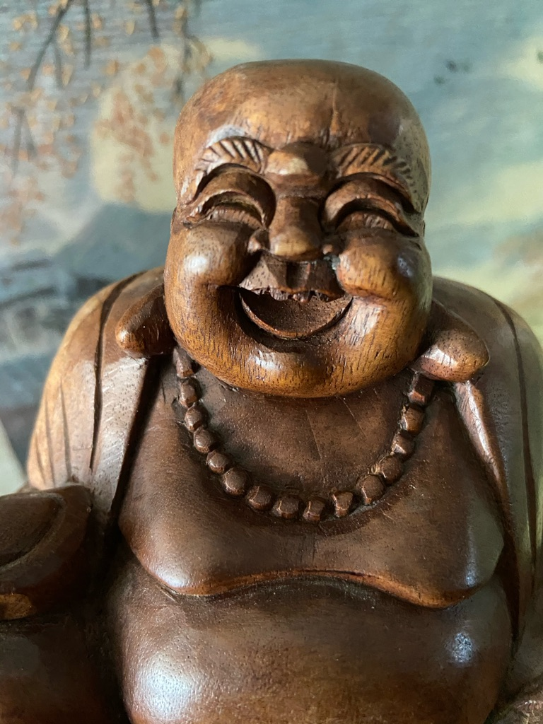 Chinese Antique Vintage handcarved Rosewood Laughing buddha
