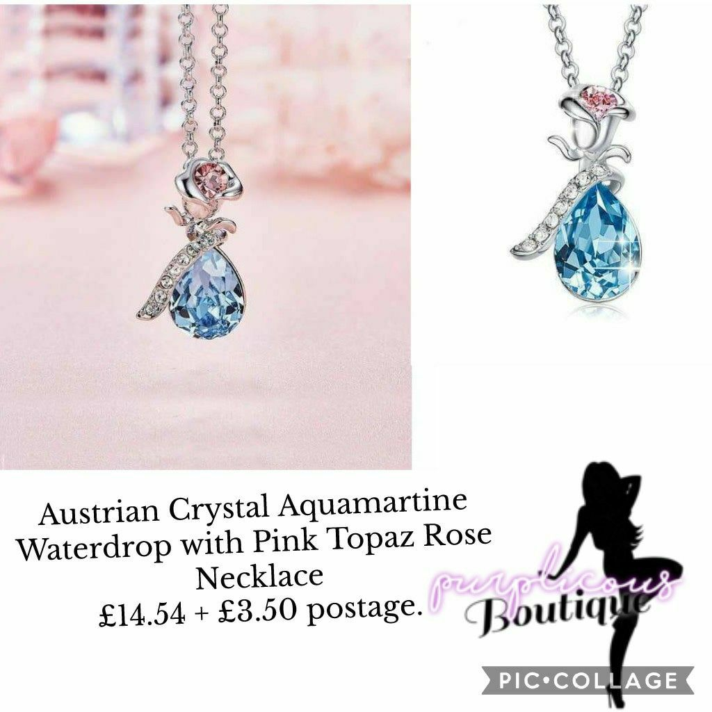 Austrian Crystal Aquamartine Waterdrop with Pink Topaz Rose Necklace