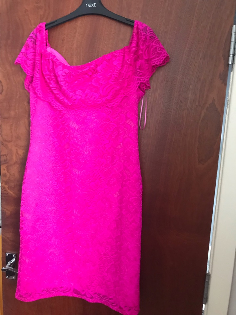 Ladies Debenhams pink lace dress size 16 NWT