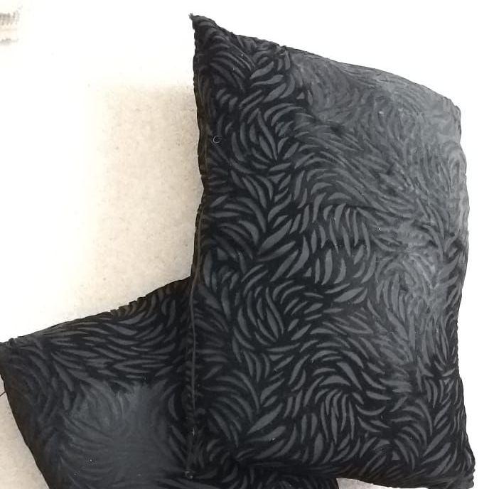 X2 black rectangular cushions
