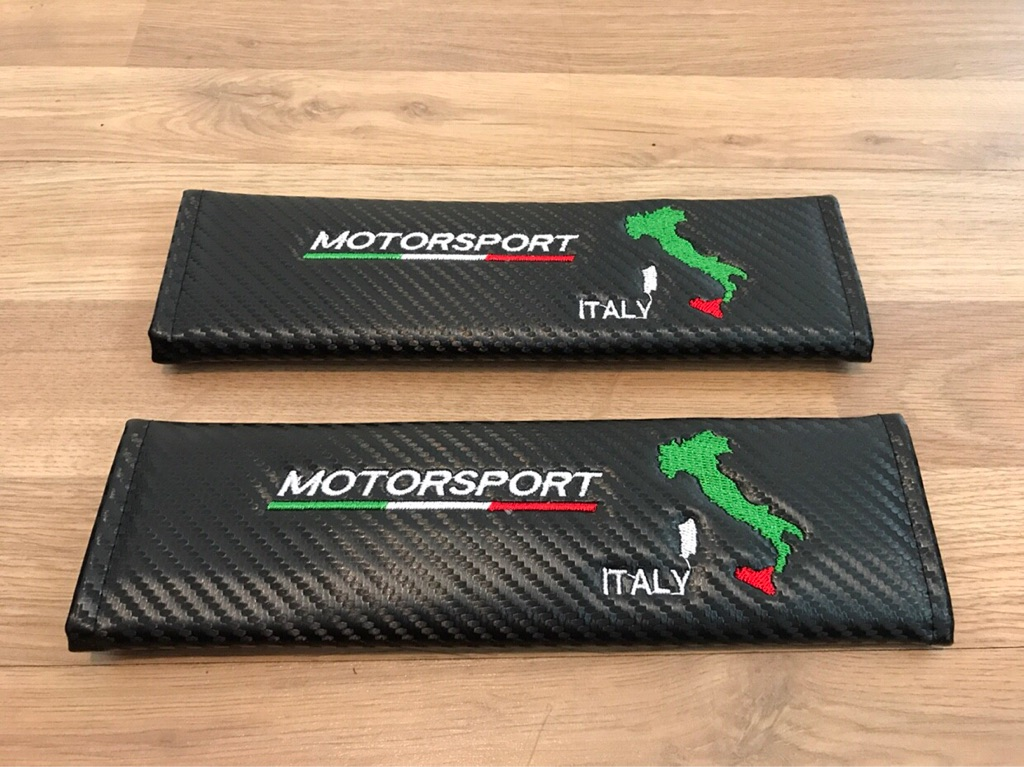 2X Seat Belt Pads Carbon Gift Motorsport Italy Flag Bandiera Abarth Rally Race Competition Racing