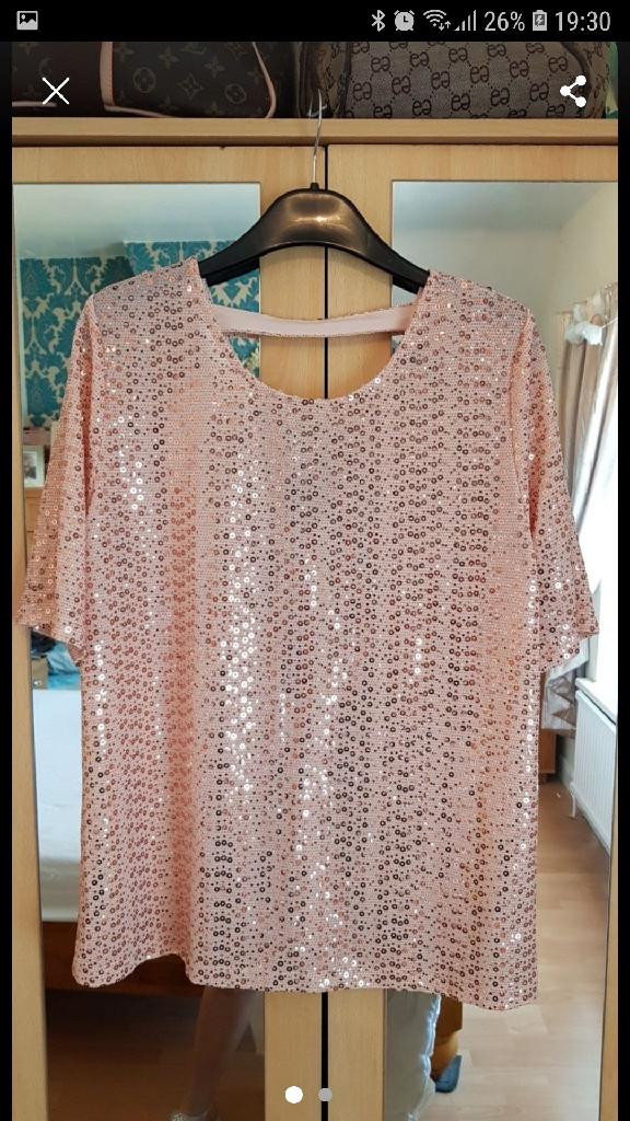 Next Pink Sequin Top, size 12