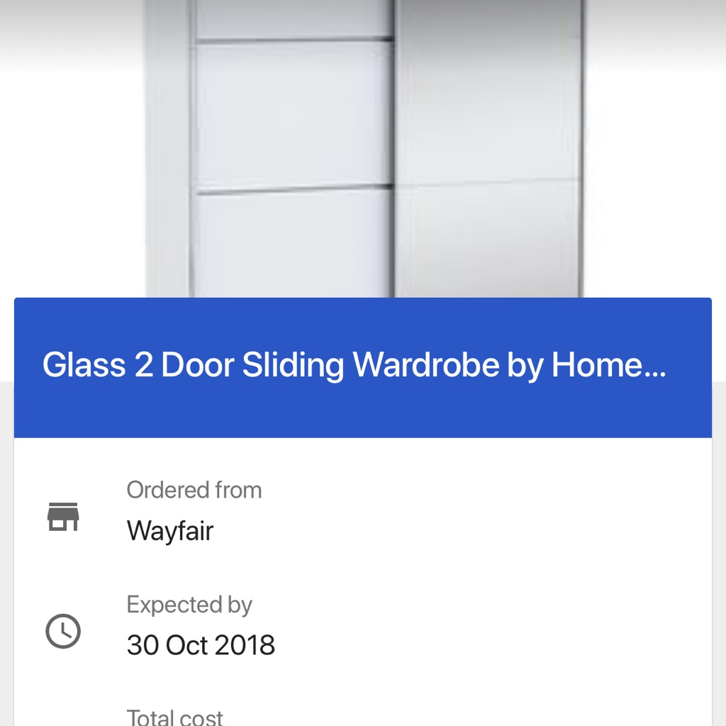 Brand new Glass sliding door wardrobe in box without fixings