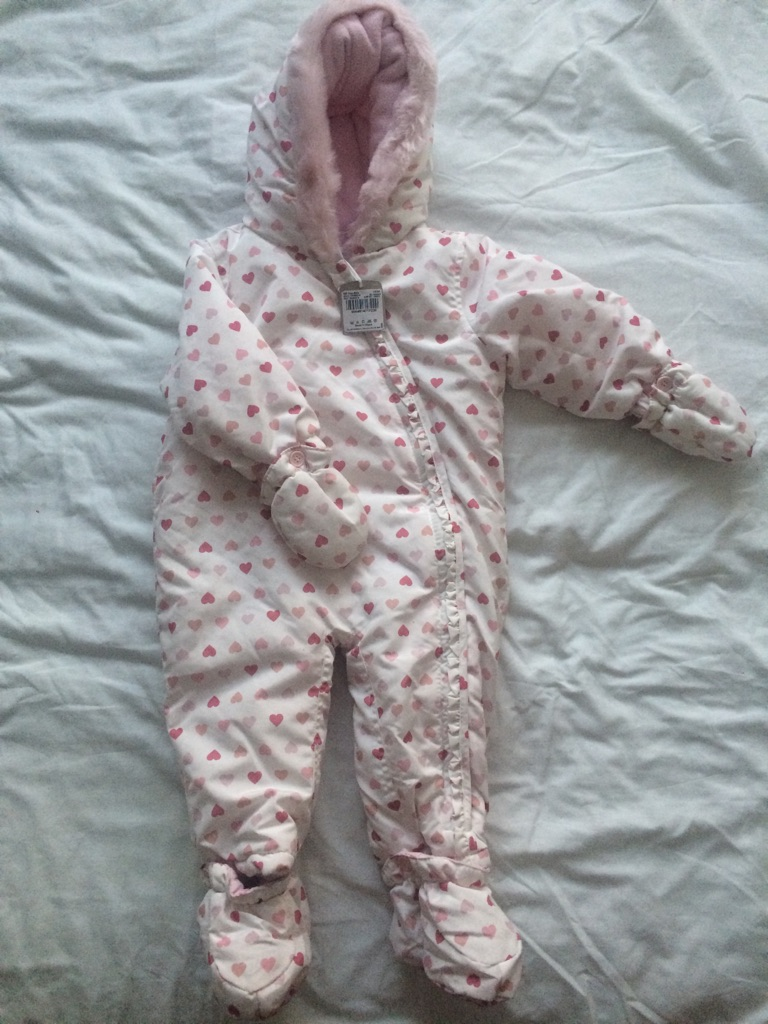 New White and Pink Pram Suit 9-12 Months