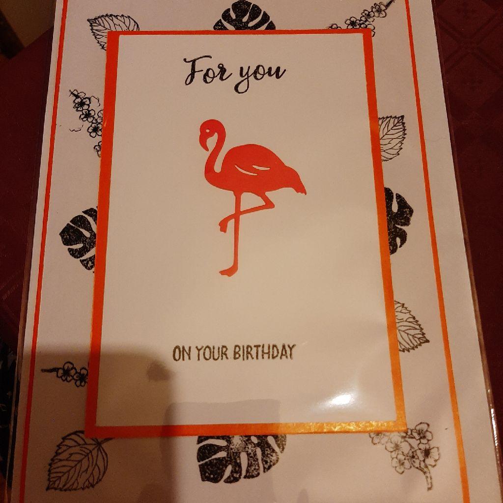 Handstamped Flamingo Birthday Card